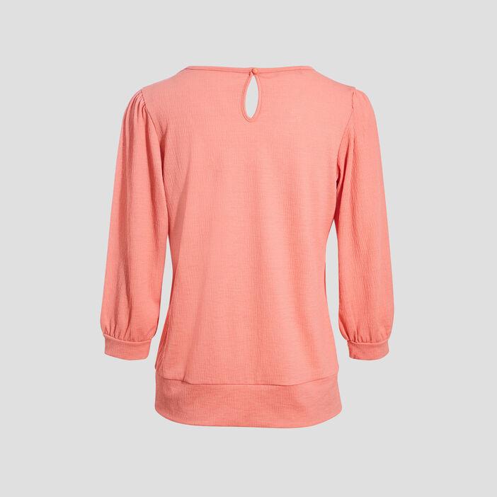 T-shirt manches 3/4 rose corail femme