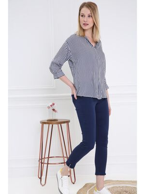 Pantalon 78 satin bleu fonce femme