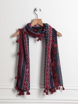 Foulard bords a glands bleu fonce femme