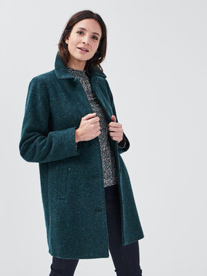 Manteau evase boutonne vert canard femme