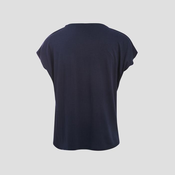 T-shirt manches courtes ajouré bleu marine femme