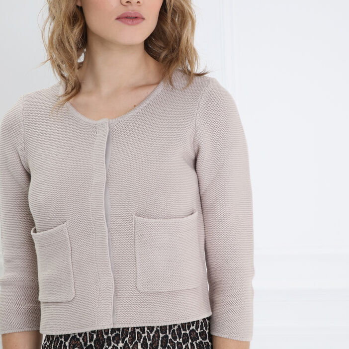 Gilet manches 3/4 col rond beige femme