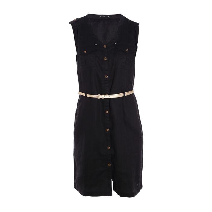 Robe courte ajustée à ceinture noir femme