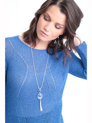 Sautoir avec pendentifs ronds bleu marine femme