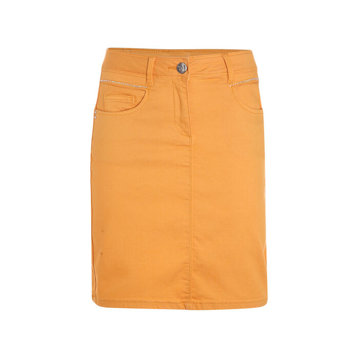 Jupe courte avec fantaisies strass jaune or femme