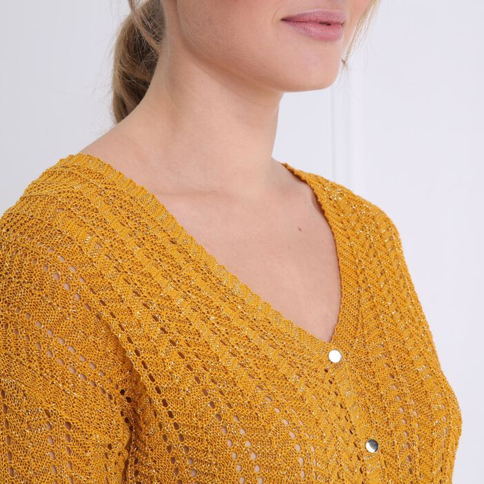 Gilet manches 3/4 boutonné jaune or femme