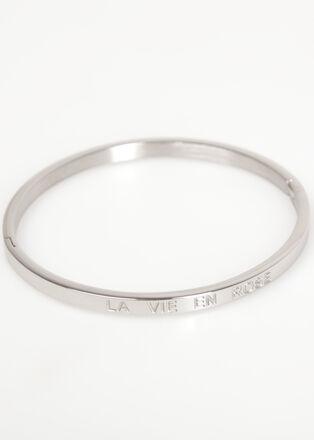 Bracelet jonc metal grave couleur argent femme