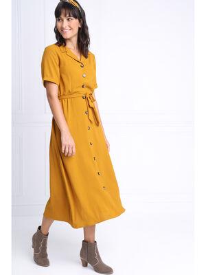 Robe chemise longue a ceinture jaune moutarde femme