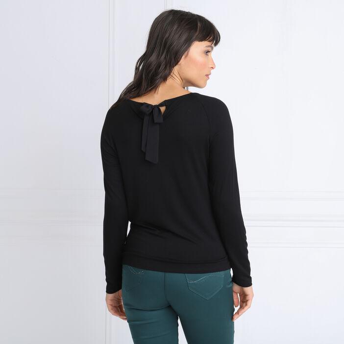 T-shirt manches longues noeud noir femme