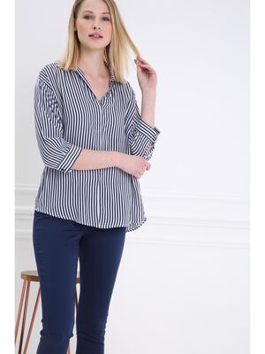 Blouse manches 34 extra ample bleu fonce femme