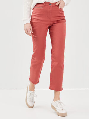Pantalon droit taille haute vieux rose femme