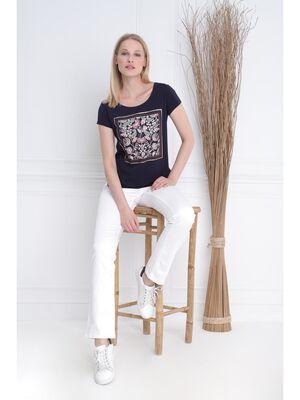 T shirt manches courtes clous bleu fonce femme
