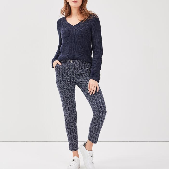 Pantalon ajusté 7/8ème bleu marine femme