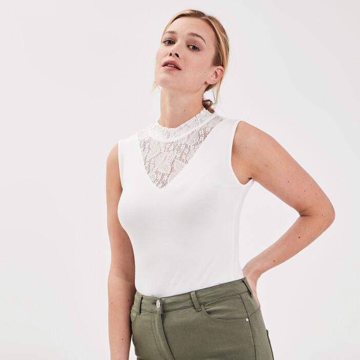 T-shirt bretelles larges ecru femme