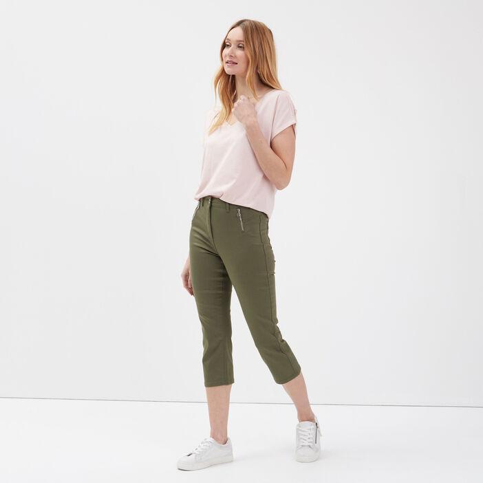 Pantacourt taille haute vert kaki femme