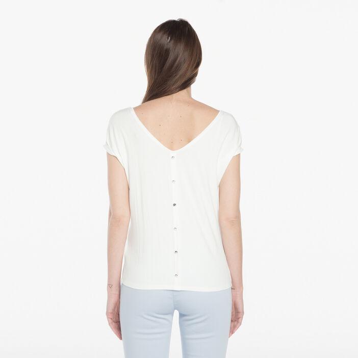 T-shirt avec noeuds ecru femme