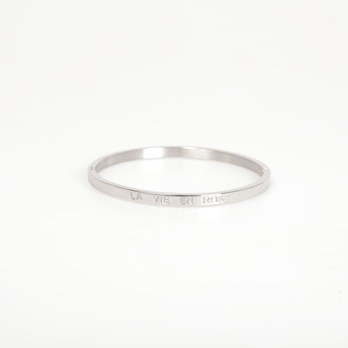 Bracelet jonc métal gravé couleur argent femme