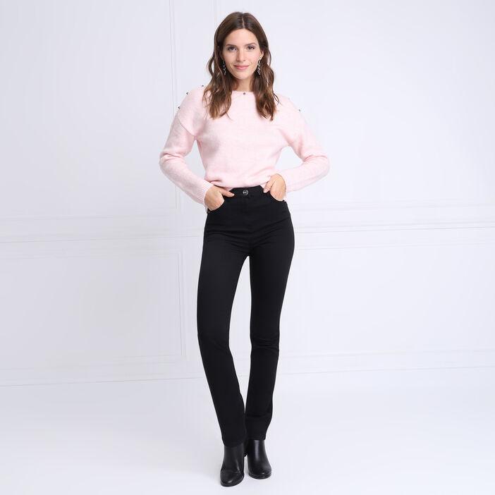 Pantalon ajusté détails zip noir femme