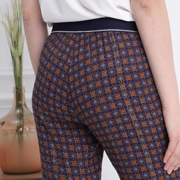 Pantalon7/8ème taille haute bleu marine femme