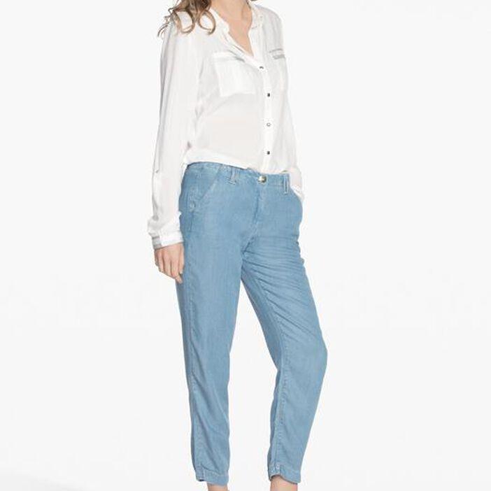 Pantalon style sport denim double stone femme