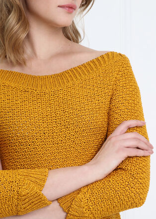 Pull manches 34 ajoure jaune or femme