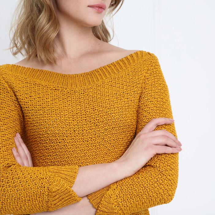 Pull manches 3/4 ajouré jaune or femme