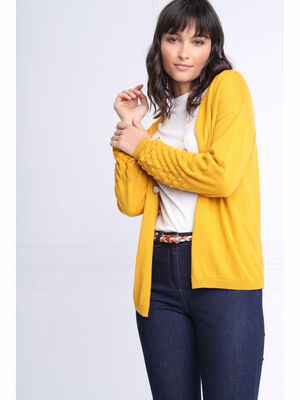 Cardigan manches longues jaune or femme