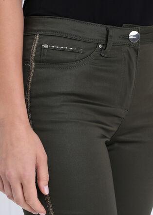 Pantalon ajuste enduit vert kaki femme