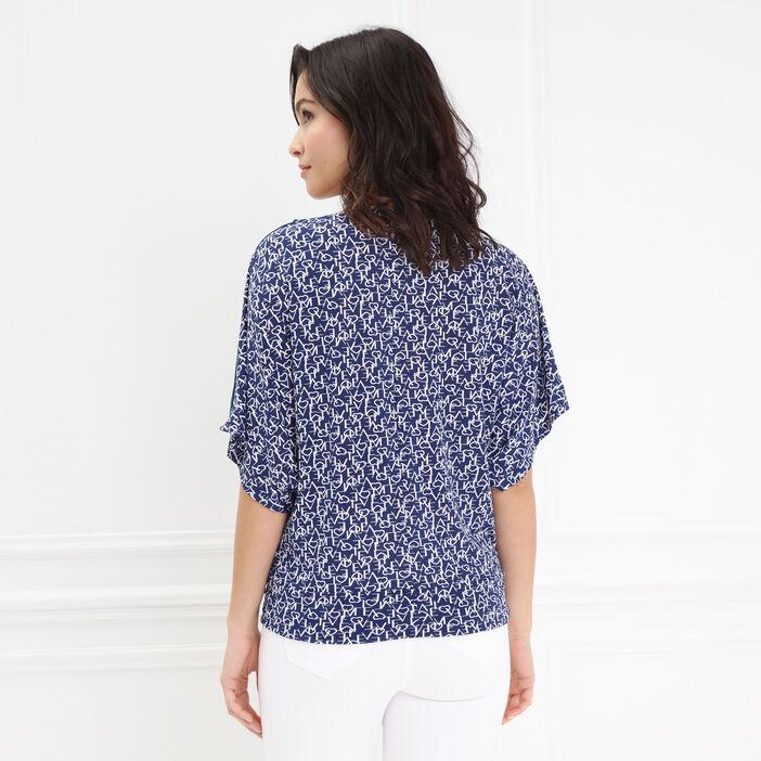 T-shirt fluide imprimé bleu marine femme