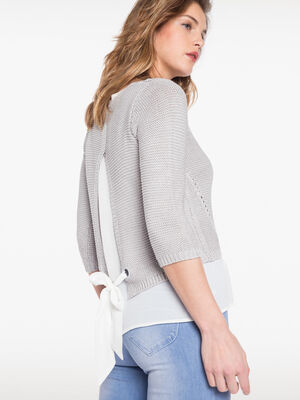 Pull en maille ruban dos gris clair femme