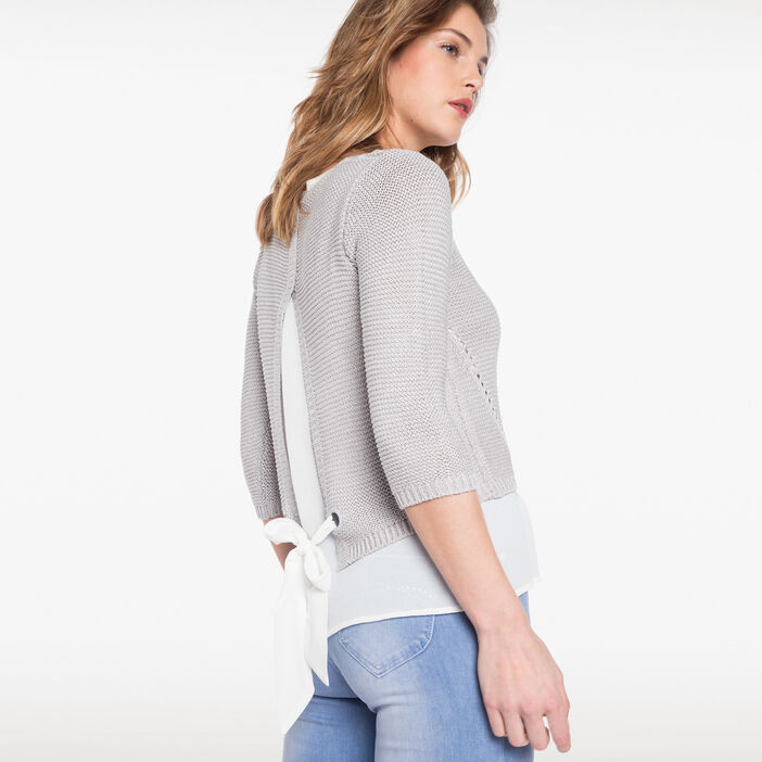 Pull en maille ruban dos gris clair femme