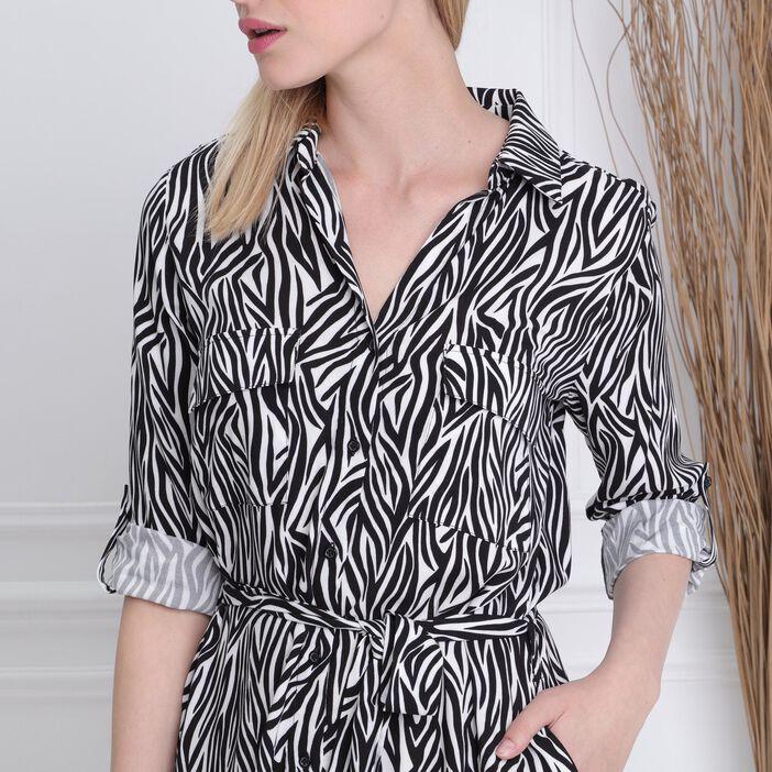 Robe chemise longue droite noir femme