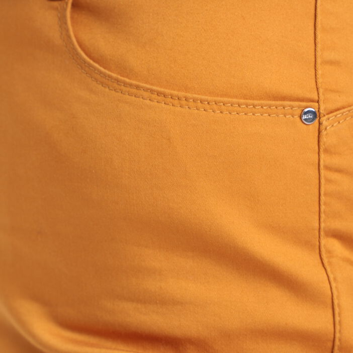 Pantalon droit taille haute jaune moutarde femme