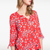 Chemise imprimee manches nouees rouge corail femme