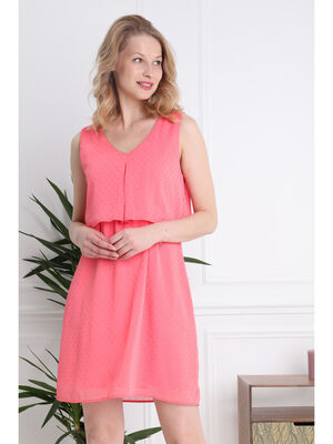 Robe courte fluide col en V orange corail femme