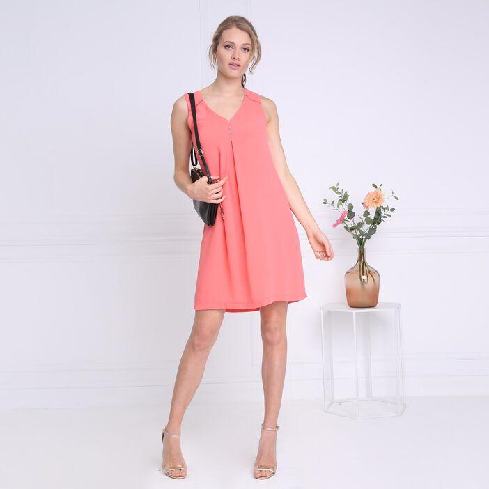 ec0d14616db ... Robe courte fluide col en V orange corail femme ...