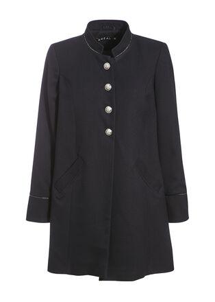 Manteau evase boutonne bleu fonce femme