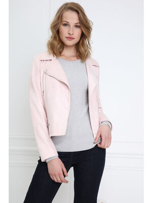 Veste esprit motard zippee rose poudree femme