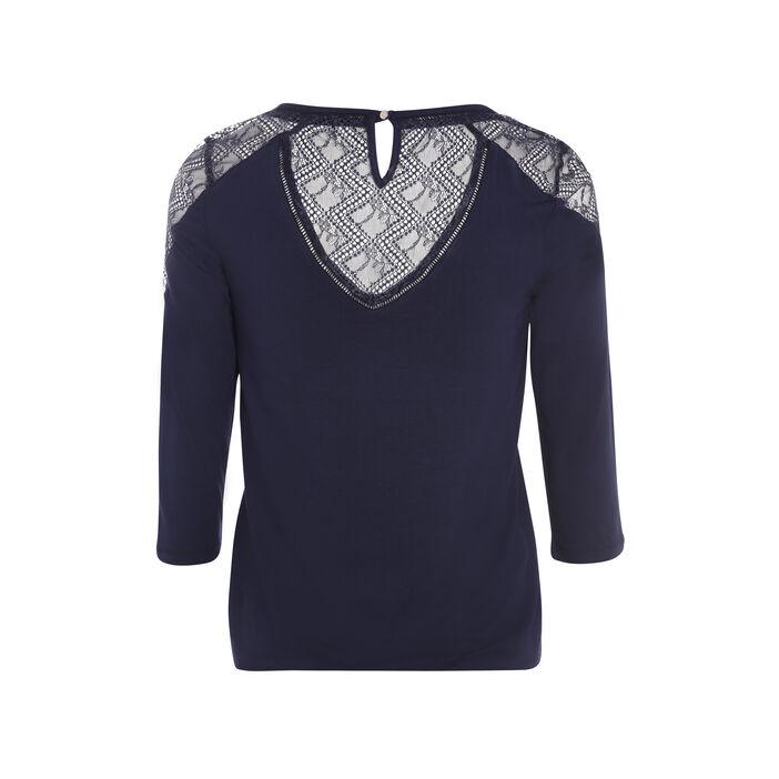 T-shirt manches 3/4 guipure dos bleu femme