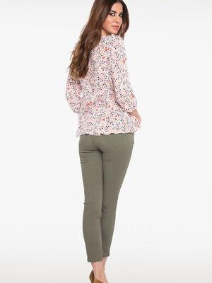 Pantalon 78eme avec zips decoratifs vert fonce femme