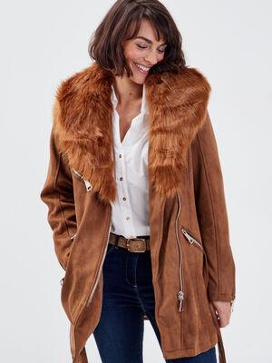 Manteau droit fausse fourrure marron femme