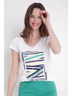 T shirt col V motif devant blanc femme