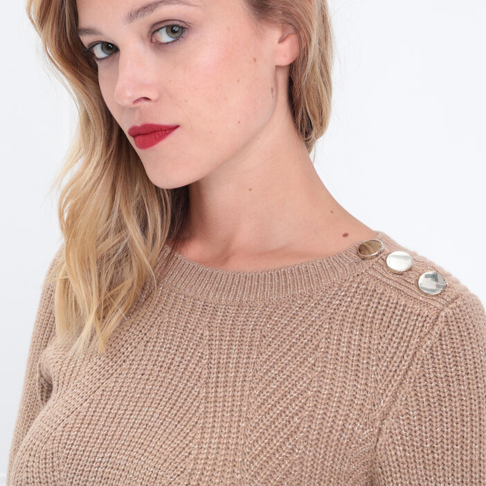 Pull fantaisie à épaules boutonnées marron clair femme
