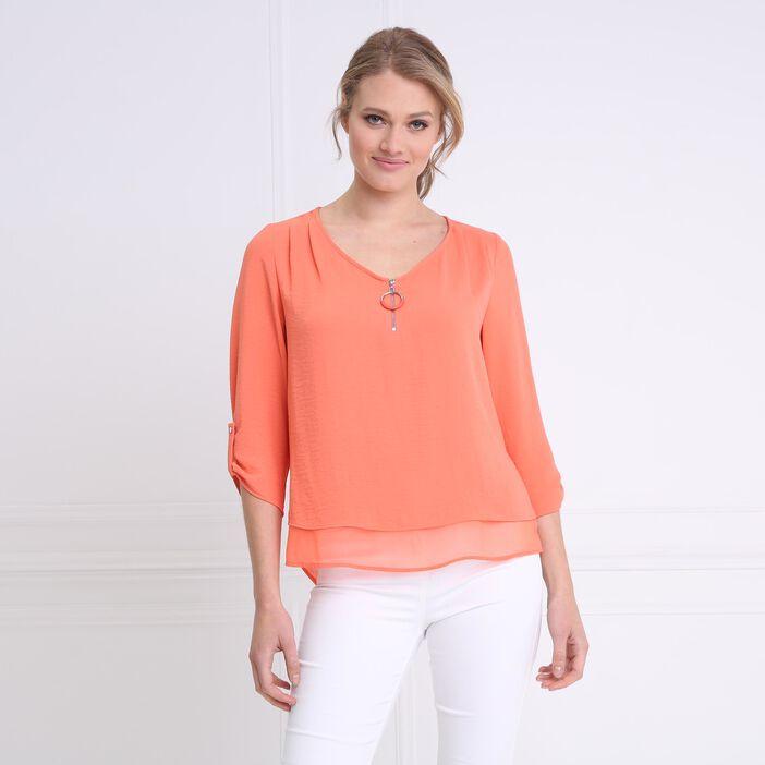 Chemise col en V bimatière orange corail femme