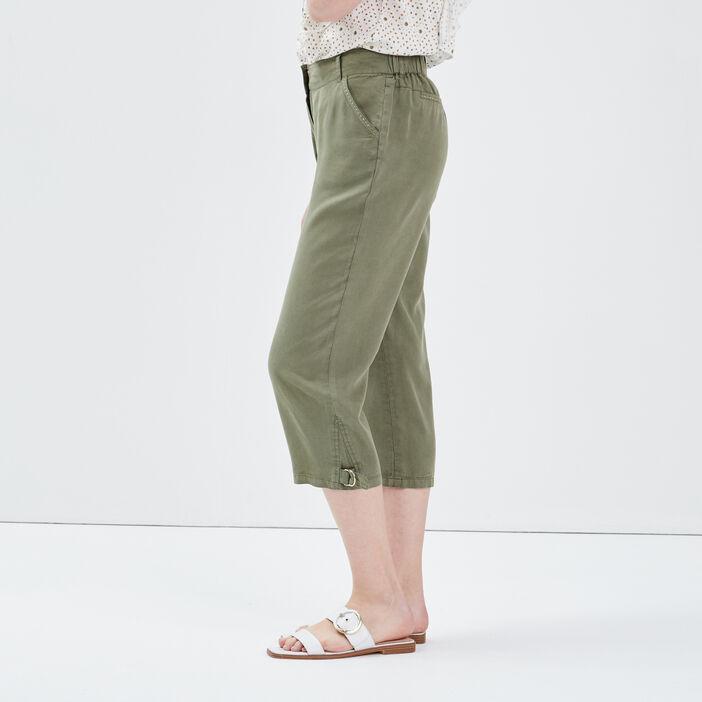 Pantacourt ample taille haute vert kaki femme