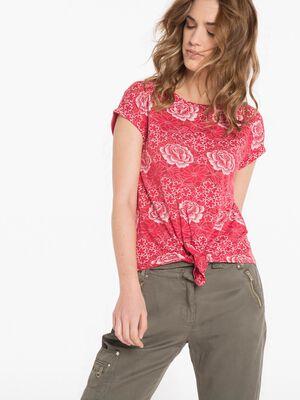 T shirt fleuri violet femme