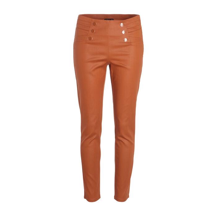 Pantalon ajusté à ponts taille basculée marron femme