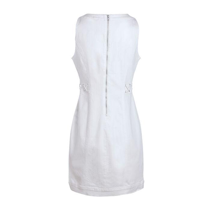 Robe courte ajustée à laçage ecru femme