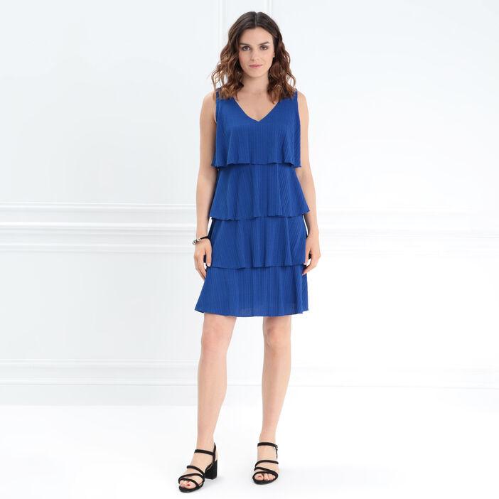 Robe droite à volants bleu femme