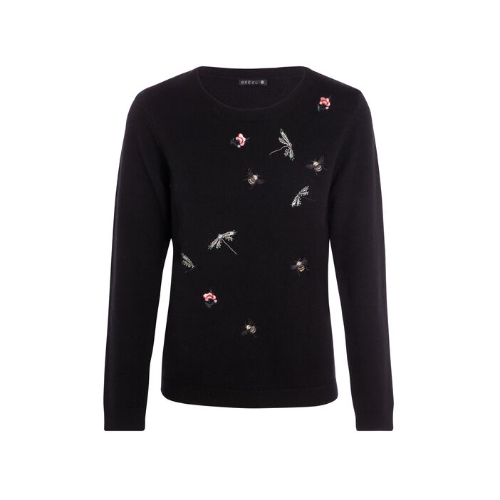 Pull col rond broderies insectes noir femme